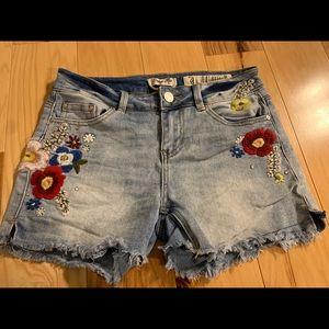 Indigo rein embroidered and embellished shorts. 9